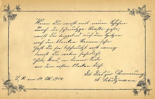 Poesie Poesiealbum Erinnerung Gertrud 1904 – 1909 alte deutsche Schrift entziffern Kurrentschrift Transkription Foto Brigitte Stolle