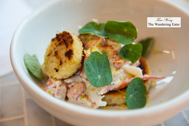 Off-menu item: A take on the lobster roll - cooked lobster, roe, bagna cauda, toasted brioche rounds, nasturtium leaves