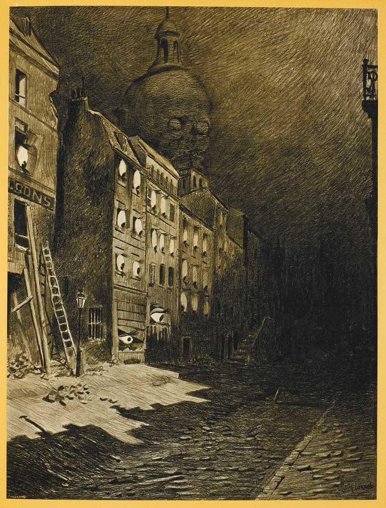 "HENRIQUE ALVIM CORRÊA - Abandoned London, from The War of the Worlds, Belgium edition, 1906 (illustration from Book II - The Earth Under the Martians, Chapter IX - ""Wreckage,"") print version"