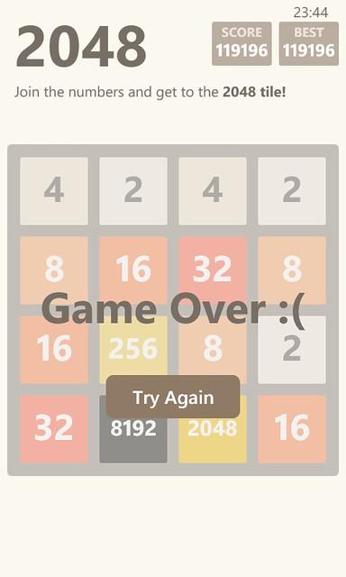 El juego 2048 para Windows Phone