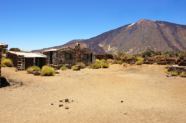 Sanatorio Building and Mount Teide in Teide National Park, Tenerife