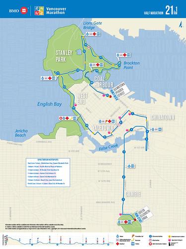 2015 BMO Vancouver Half Marathon route
