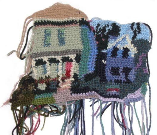 Jo's house, crochet landscape by Jo Hamilton | Emma Lamb