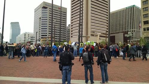 Protest rally at McKeldin Square near Harborplace.