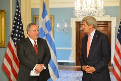 U.S. Secretary of State John Kerry meets with Greek Foreign Minister Nikos Kotzias at the U.S. Department of State in Washington, D.C. on April 20, 2015. [State Department Photo/Public Domain]