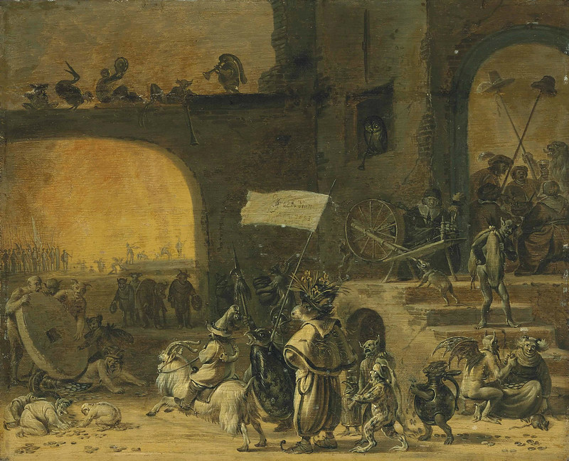 Cornelis Saftleven - A hoard of creatures with the Seven Deadly Sins, before a tavern, 1653