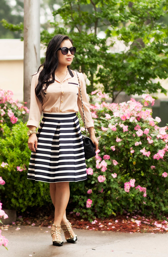 cute & little blog | petite fashion | apricot contrast lapel blouse, navy striped pleated skirt, black studded pumps | spring outfit