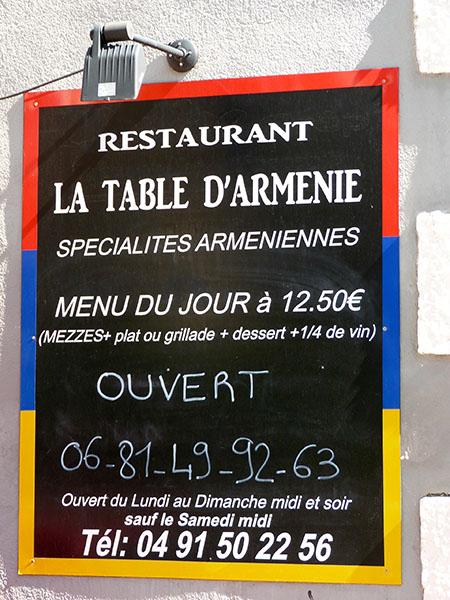 la table d'arménie