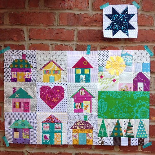 It was such a fun experience creating this city and country scene.  Amber (@simplelovequilts) chose a house theme for #thesecretlifeoftravelingquilts bee and sent me the six inch house and van on the right.  At first I wasn't sure where to begin, but once