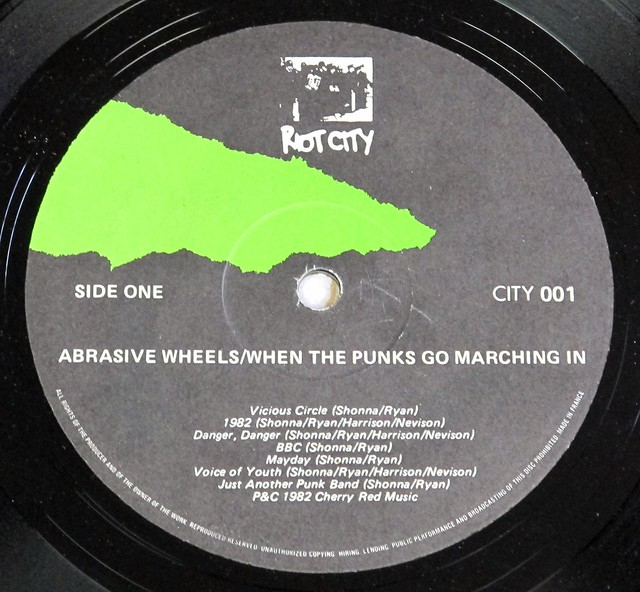 "ABRASIVE WHEELS WHEN THE PUNKS GO MARCHING IN ORIG RIOT CITY 12"" LP VINYL"