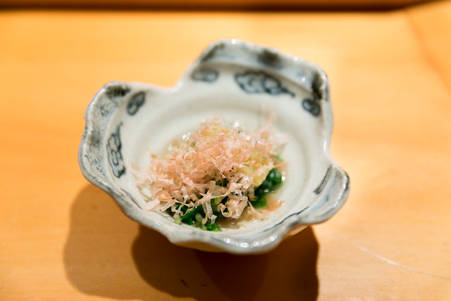 Japanese green vegetable, dried bonito flakes, herring roe
