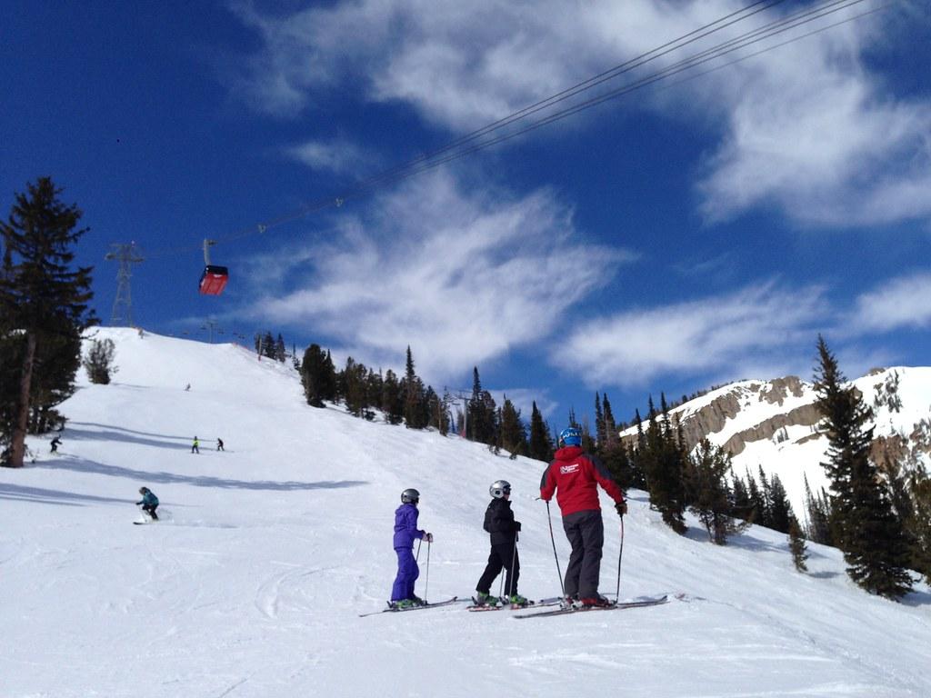 Skiing below the tram line