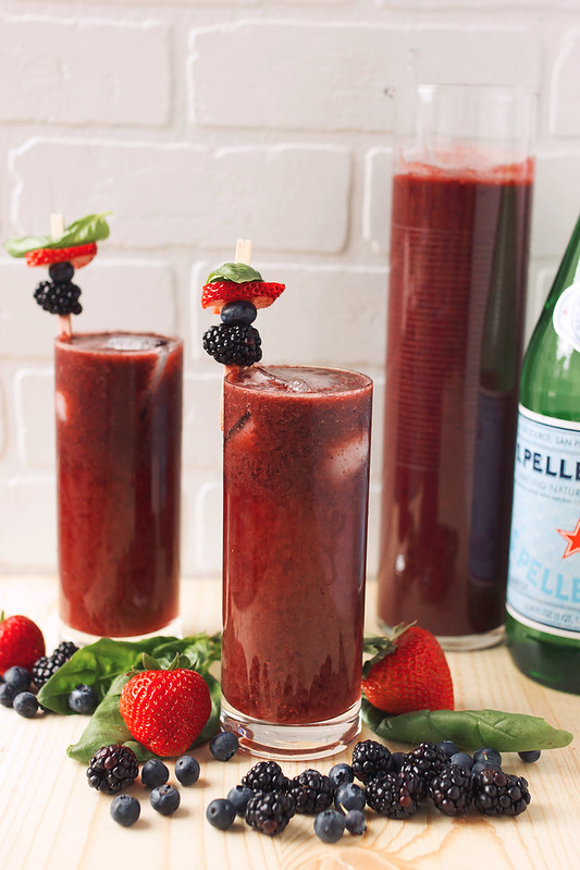 Mixed Berry Basil Sparkling Agua Fresca