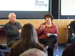 Joyce McMillan and Tom Nairn at Bus Party event at the University of Stirling, April 2015
