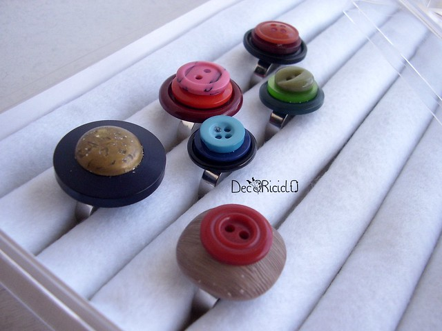 anelli bottoni + scatola espositore 6
