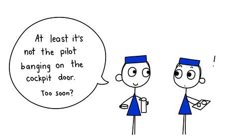 Two flight attendants talking.