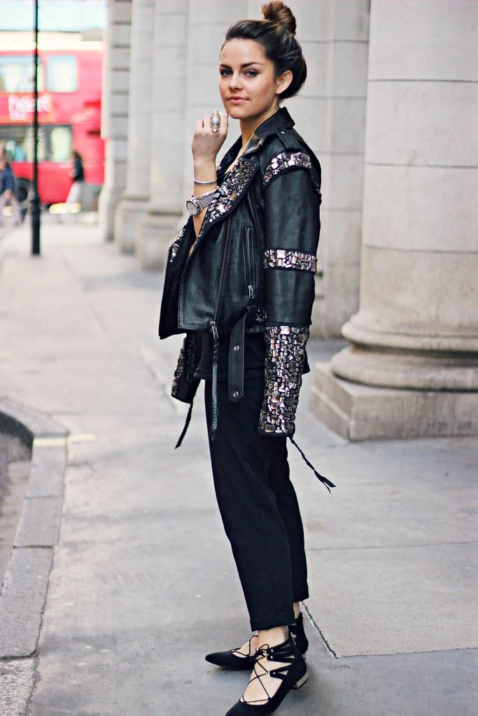 Superdry embellished black leather jacket 16