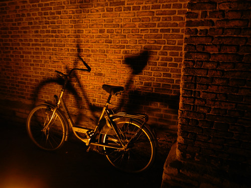 Bicycle at Night in Delft, Holland