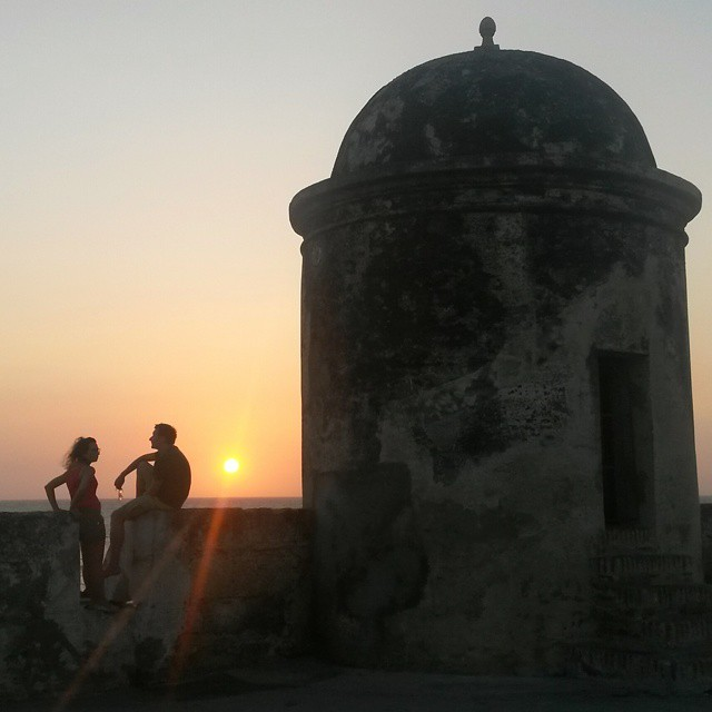 auringonlasku, Cartagena, Kolumbia