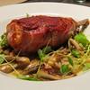 Spring Menu! Prosciutto Wrapped Pork Chop, Glazed Mushrooms, Sage   @mercerkitchen #porkchop #naturallyraised #mushrooms #prosciutto by clbeischer