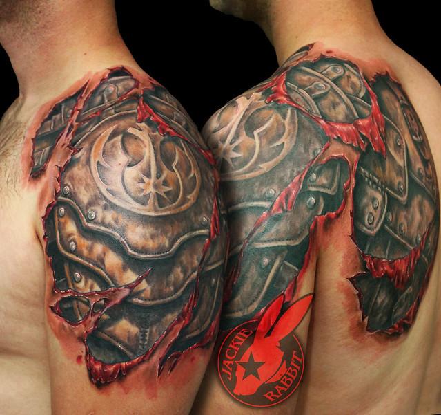 Star Wars Rebel Symbol Armor Tear Out Realistic 3d Tattoo