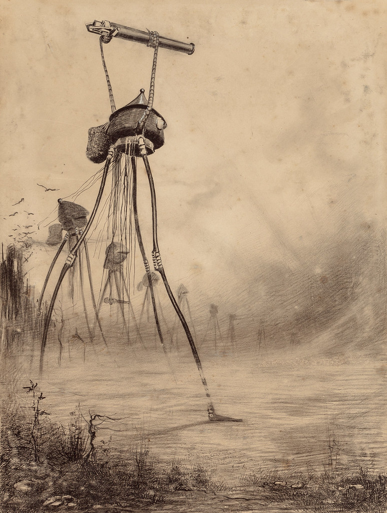 "HENRIQUE ALVIM CORRÊA - Martian Gas Cannon, from The War of the Worlds, Belgium edition, 1906 (illustration from Book I- The Coming of the Martians, Chapter XV- ""What Had Happened in Surrey,"")"