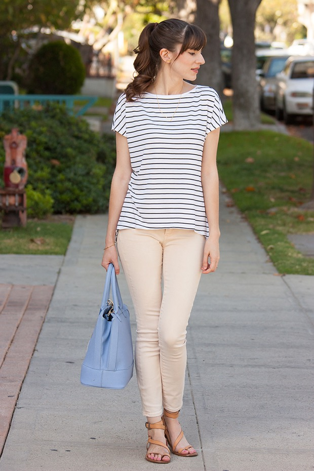 Light Peach Jeans, Striped Tee