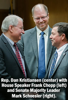 Rep. Dan Kristiansen with House Speaker Frank Chopp and Senate Majority Leader Mark Schoesler