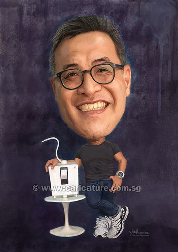 Bernard Chan digital caricature painting with Kangen 8 (watermarked)
