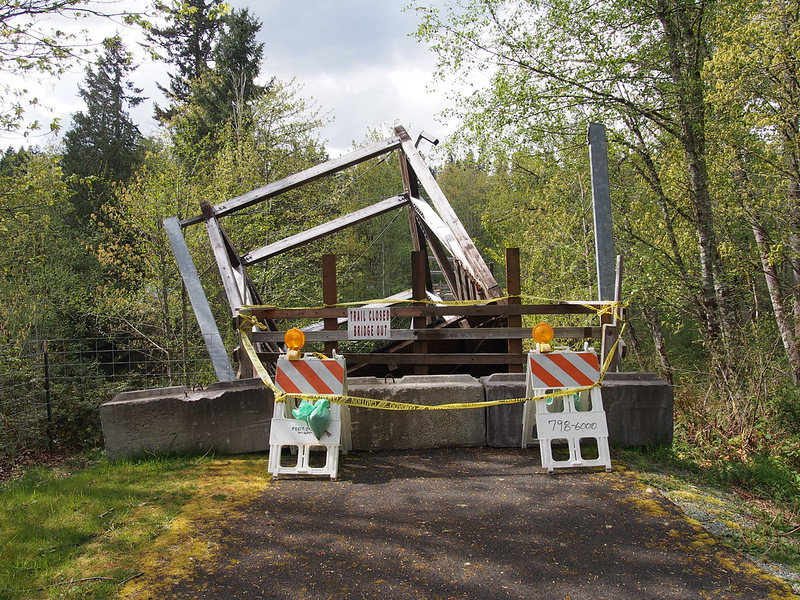 Foothills Trail Bridge Outage: First sight upon arriving at the outage