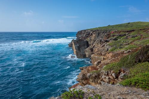 ocean blue beautiful hawaii chair rocks surf view cliffs kauai gr ricoh