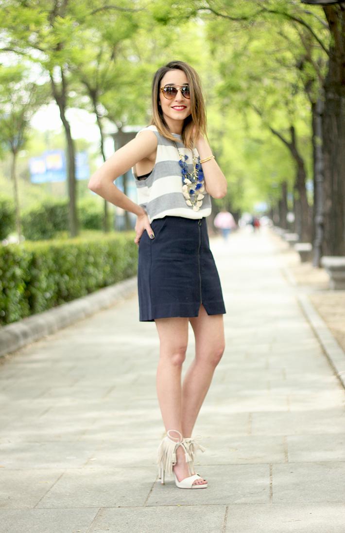 Blue Skirt Striped Top fringed sandals03