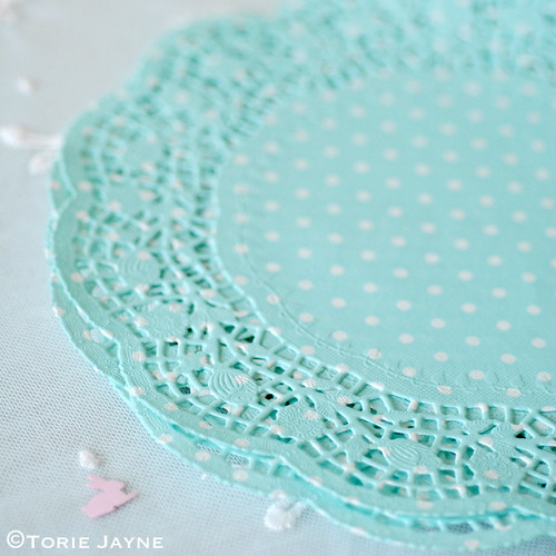 Duck egg blue & white spot doilies