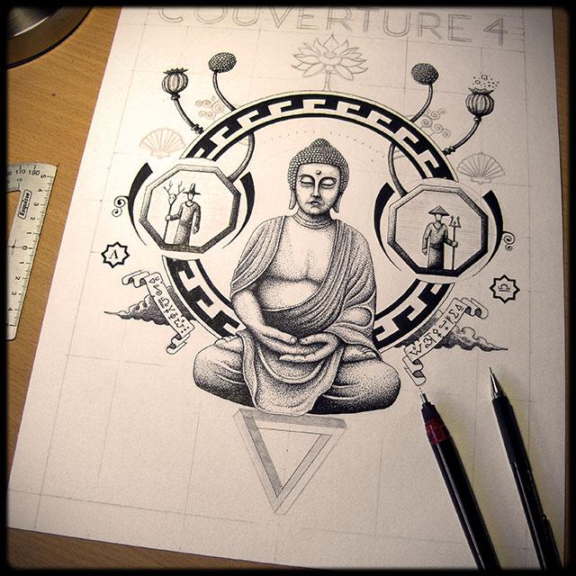 bouddha dessin en cours de cration tape 3