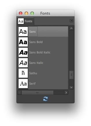 GIMP Font Selection Dialog