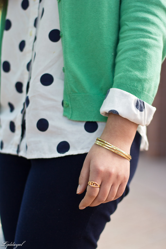 polka dot shirt, green cardigan, navy pants-10.jpg