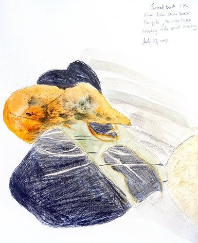 Pencil and watercolour drawing of rocks on the beach from our Sooke sketching trip on Vancouver Island