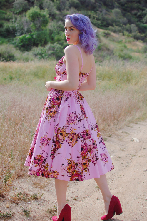 Pinup Girl Clothing Ella dress in pink and baton rouge floral print