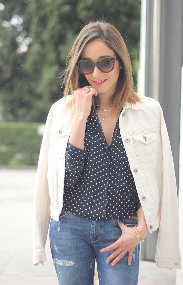 polka dots shirt jeans red sandals zara06