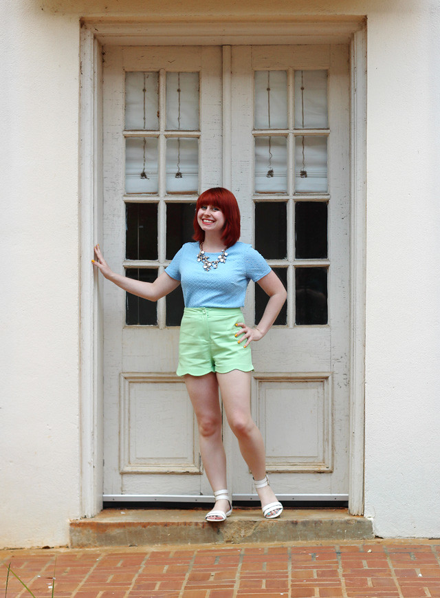 Pastel Blue Top and Scalloped Shorts with White Sandals