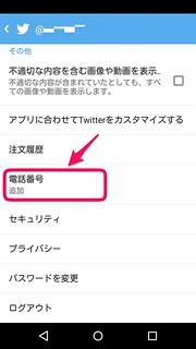 Twitter アプリ 設定画面