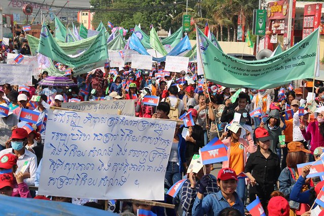 Cambodian Labour Confederation unionists march on May Day 2015