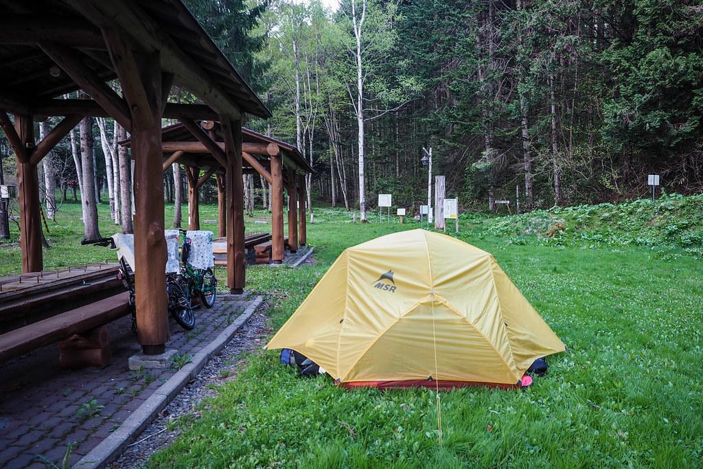 Free campground in Assabu, Hokkaido, Japan