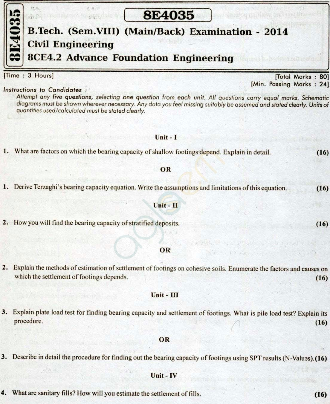 RTU: Question Papers 2014 - 8 Semester - CE - 8E4035
