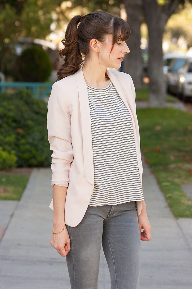 Blush Blazer, Grey Denim, Striped Tee