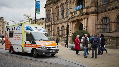 Sheffield with Save our NHS ambulance