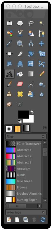 GIMP Text Tool Selected