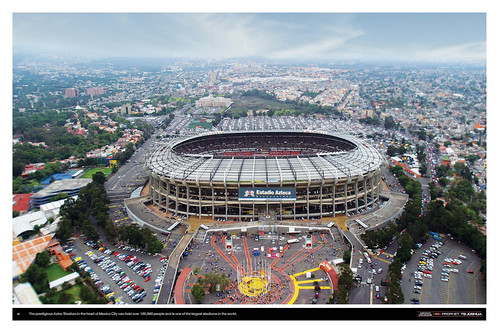 The prestigious Aztec Stadium in the heart of Mexico City can hold over 100,000 people and is one of the largest stadiums in the world.
