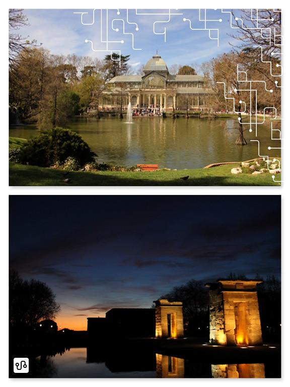 Madrid, dia ensolarado no Parque do Bom Retiro e crepúsculo no Templo de Debod