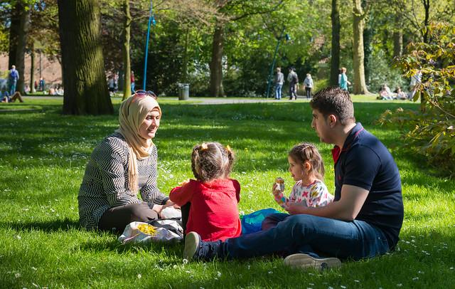 Iraqi refugees in a Dutch park